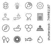 thin line icon set   dollar ... | Shutterstock .eps vector #744981187
