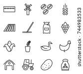 thin line icon set   bunker ...   Shutterstock .eps vector #744983533