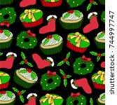 christmas set vector... | Shutterstock .eps vector #744997747