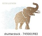 big heavy indian elephant... | Shutterstock .eps vector #745001983