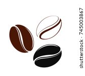 icon of coffee beans on white... | Shutterstock .eps vector #745003867