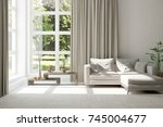 idea of white room with sofa... | Shutterstock . vector #745004677