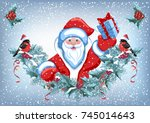 christmas card with santa claus ... | Shutterstock .eps vector #745014643
