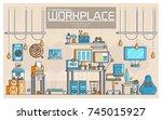 vector outline it geeks people... | Shutterstock .eps vector #745015927