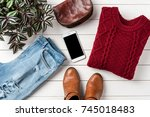 woman's warm outfit on white...   Shutterstock . vector #745018483