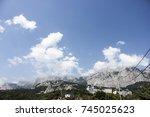 nature mount forest blue sky... | Shutterstock . vector #745025623
