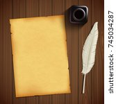 old sheet of paper for writing... | Shutterstock .eps vector #745034287