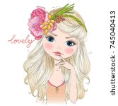 Stock vector hand drawn beautiful cute blonde girl in a wreath of flowers vector illustration 745040413