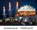 christmas fruit cake with icing ... | Shutterstock . vector #745041637