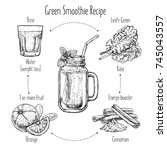 hand drawn recipe of green... | Shutterstock .eps vector #745043557