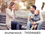 happy family with one child... | Shutterstock . vector #745046683
