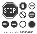 Stop Road Sign Set. Warning...