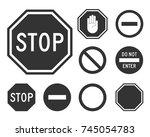 stop road sign set. warning... | Shutterstock .eps vector #745054783