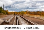 the empty platform of a country ... | Shutterstock . vector #745056283