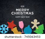 christmas and new year. vector... | Shutterstock .eps vector #745063453