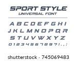 sport style universal font.... | Shutterstock .eps vector #745069483