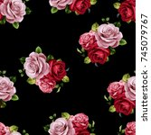 red rose pattern..for textile ... | Shutterstock . vector #745079767