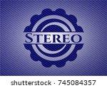 stereo badge with denim...   Shutterstock .eps vector #745084357