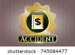 golden emblem or badge with... | Shutterstock .eps vector #745084477