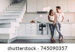 full length image of romantic... | Shutterstock . vector #745090357