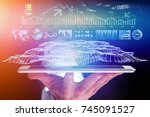 view of a trading forex data... | Shutterstock . vector #745091527