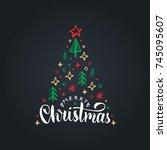 merry christmas lettering on... | Shutterstock .eps vector #745095607