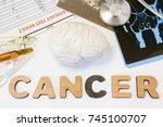 Small photo of Brain cancer concept. Anatomical shape of brain lies near word cancer surrounded by set of tests, analysis, drugs, MRI of skull and stethoscope. Diagnosis treatment of brain cancerous tumors