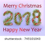 christmas number 2018  candy... | Shutterstock .eps vector #745101043