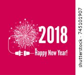 connecting to the new year 2018.... | Shutterstock .eps vector #745101907