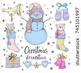 set of vector christmas... | Shutterstock .eps vector #745101997