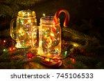 christmas fairy garland lights... | Shutterstock . vector #745106533