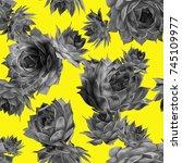 cactus seamless pattern. hand... | Shutterstock . vector #745109977