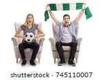 excited soccer fans with a... | Shutterstock . vector #745110007