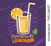 homemade lemonade  label ... | Shutterstock .eps vector #745118437