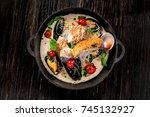 seafood and rice noodles in... | Shutterstock . vector #745132927