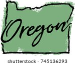 hand drawn oregon state design | Shutterstock .eps vector #745136293
