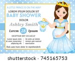 vector card template with... | Shutterstock .eps vector #745165753