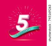 5 years anniversary logo... | Shutterstock .eps vector #745169263