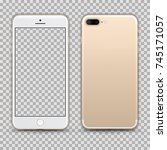 realistic gold smartphone with... | Shutterstock .eps vector #745171057