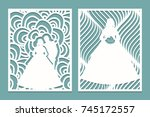set of die laser cut card with... | Shutterstock .eps vector #745172557