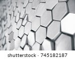 silver abstract hexagonal... | Shutterstock . vector #745182187