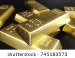 stack close up gold bars ... | Shutterstock . vector #745183573
