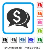 financial chat icon. flat grey...