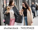 friends are happy shopping ...   Shutterstock . vector #745195423