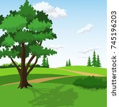 green hills with big tree and... | Shutterstock .eps vector #745196203