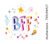 bff   best friends forever | Shutterstock .eps vector #745196917