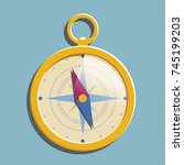 flat gold compass with shadow.... | Shutterstock .eps vector #745199203
