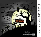 illustration happy halloween....   Shutterstock .eps vector #745199317