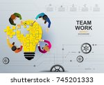 business meeting and... | Shutterstock .eps vector #745201333