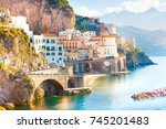morning view of amalfi... | Shutterstock . vector #745201483